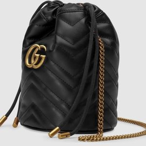 NWT Authentic Gucci GG Marmont mini bucket bag